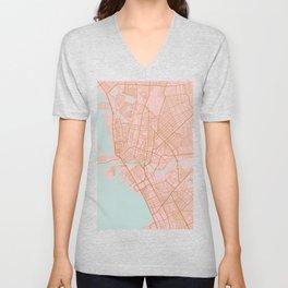Pink and gold Manila map Unisex V-Neck