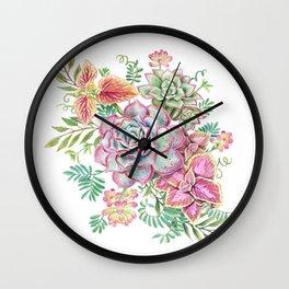 Watercolor Succulents #70 Wall Clock