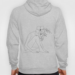Minimal Line Art Nude Woman with Flowers Hoody