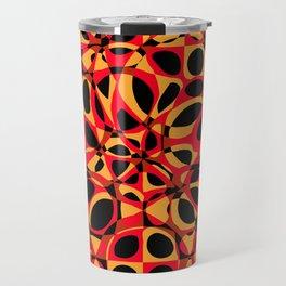 orange red circle pattern Travel Mug