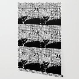 Barcelona city map black and white Wallpaper