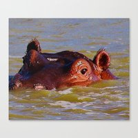 hippo Canvas Prints featuring Hippo by Underlying Art
