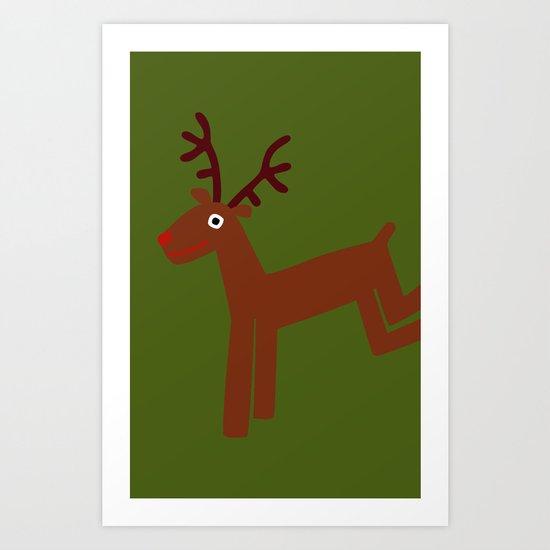 Reindeer-Green Art Print