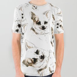 Chihuahua Watercolor All Over Graphic Tee