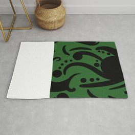 A Moderate Abstraction: Green and Black Rug