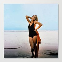 jessica lange Canvas Prints featuring Young Jessica Lange by BeeJL
