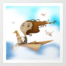 Origami Flying Art Print