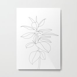 Minimal Rubber Tree Metal Print