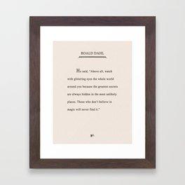 Roald Dahl Quote - Glittering Eyes Framed Art Print