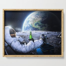 Astronaut on the Moon with beer Serving Tray