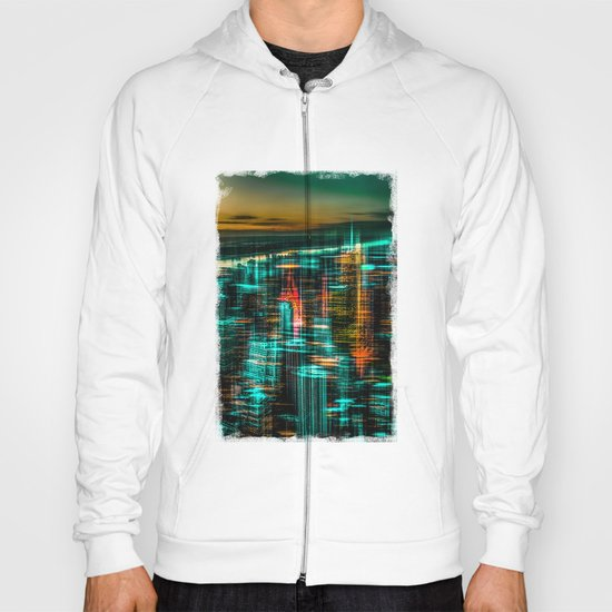 New York - the night awakes (green) Hoody