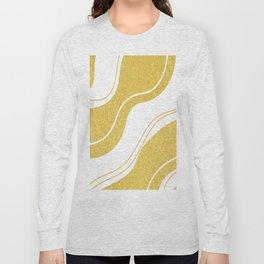 Uplifting golden wavy lines on white background Long Sleeve T-shirt