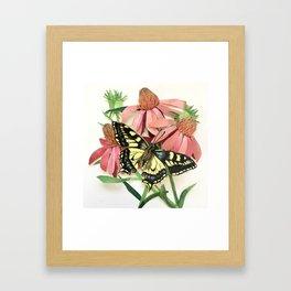 Floral Paper Cut Swallowtail Framed Art Print