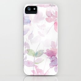 Blooming blush and purple watrclolor iPhone Case