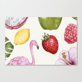 Tropical Flamingo & Fruit Canvas Print