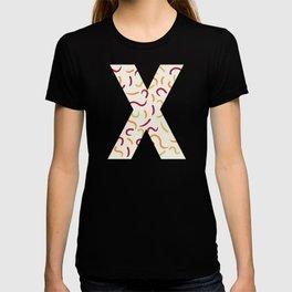 Light Swish Shapes Initial Monogram Letter X T-shirt