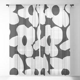 White Retro Flowers Black Background #decor #society6 #buyart Sheer Curtain