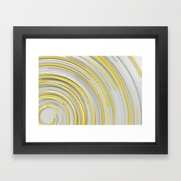 Glowing yellow concentric spirals on white Framed Art Print