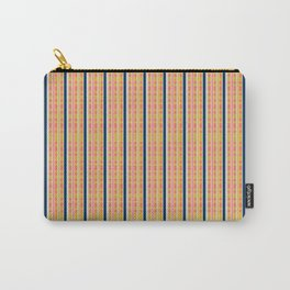 Cora Yellow and Blue Picnic Stripe Pattern Carry-All Pouch
