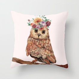 Owl with Flowers Throw Pillow