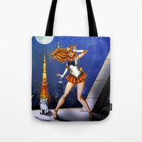 sailor venus Tote Bags featuring Sailor Venus by Nelson Rodrigues