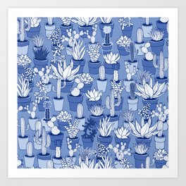 Succulents - Monochrome Blue Art Print