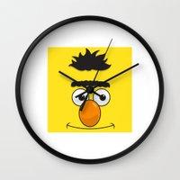 sesame street Wall Clocks featuring Sesame Street Ernie by Jconner