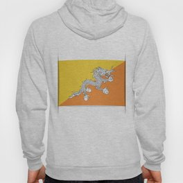 Flag of Bhutan.  The slit in the paper with shadows. Hoody