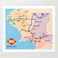 middle earth Art Prints featuring Middle-Earth metro map by tuditees