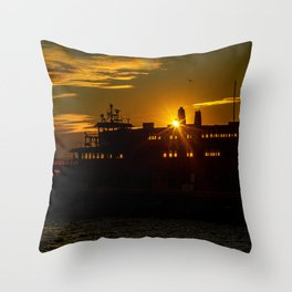 Staten Island Ferry at Sunrise Throw Pillow