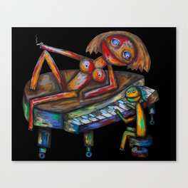 Every morning Jack plays the piano! Canvas Print
