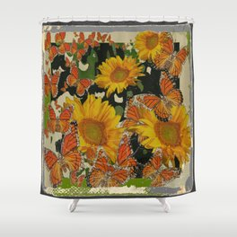 GRUNGY ANTIQUE STYLE  MONARCH BUTTERFLIES  SUNFLOWERS Shower Curtain
