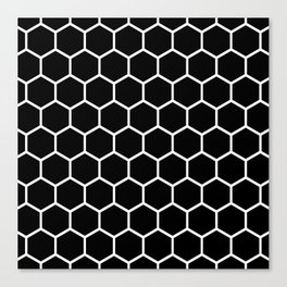 Black and white honeycomb pattern Canvas Print