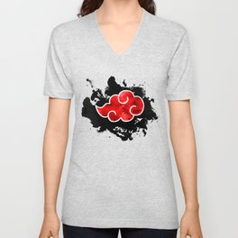 red cloud akatsuki watercolor Unisex V-Neck