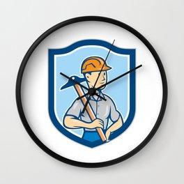 Engineer Architect T-Square Shield Cartoon Wall Clock