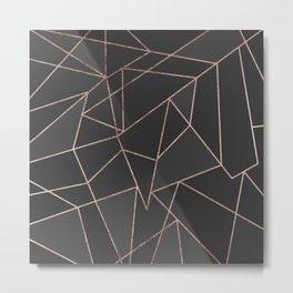 Chic Rose Gold Geometric Outline on Black Charcoal Metal Print