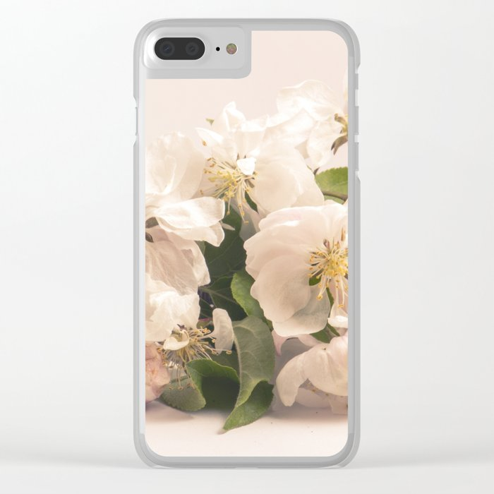 White flowers, spring photography Clear iPhone Case