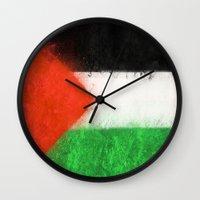palestine Wall Clocks featuring Palestine by 2b2dornot2b