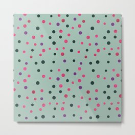 Neon pink black purple polka dots pattern Metal Print