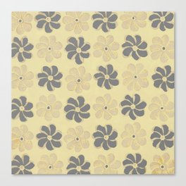 Floral design Yellow & Gray Flowers print Canvas Print