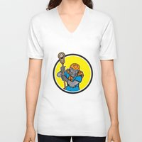 lacrosse V-neck T-shirts featuring Gorilla Lacrosse Player Circle Cartoon by patrimonio