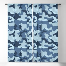 Military Camouflage Pattern, Army - Blue Blackout Curtain