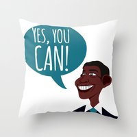 obama Throw Pillows featuring OBAMA by artic