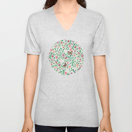 Blooms and Butterflies on Lapis Blue Unisex V-Neck