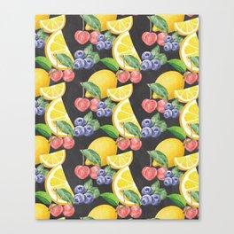 Fruits on Chalkboard Canvas Print