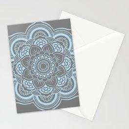 Mandala Flower Gray & Baby Blue Stationery Cards