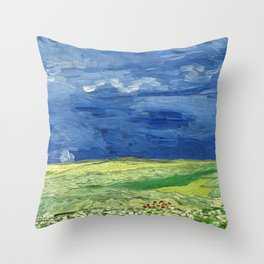 Wheatfield under thunderclouds by Vincent van Gogh Throw Pillow