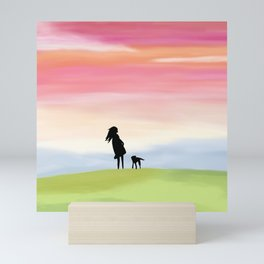 A Girl and Her Dog Mini Art Print