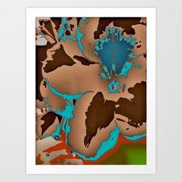 Brown Blue Azalea 1 Art Print
