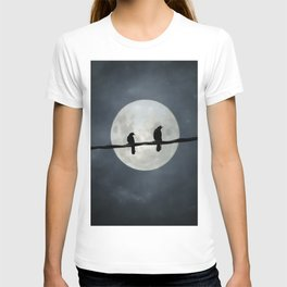 Silvery Moon And Crows T-shirt